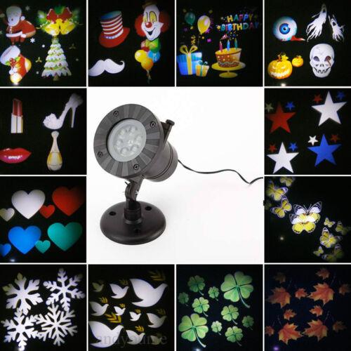Outdoor 12 Pattern Moving LED Laser Light Projector Landscape Xmas Garden Lamp M