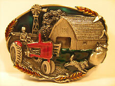 PEWTER Belt Buckle COUNTRY FARM TRACTOR BARN Resin filled 1981 Bergamot [Y95t]