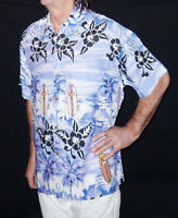 Loud Hawaiian Shirt, Blue Palms/guitars Surfers, S, 48 Stag Night Party Holiday