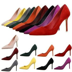 Women-wedding-Shoes-ladies-office-Point-Toe-Pumps-Stiletto-High-Heels-all-colors