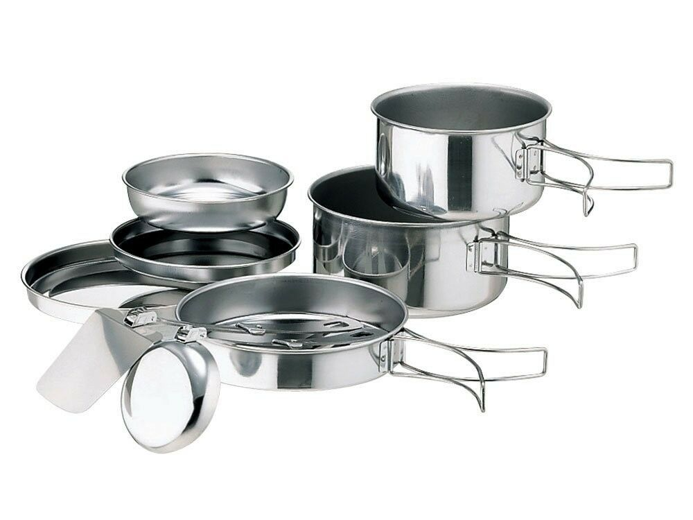 Snow Peak Japan Cookware Stainless Tableware Camping Cooking Pan Pot Set CS-073