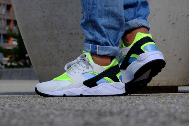 new product 36402 107c3 AUTHENTIC NIKE Air Huarache Run White Neon Green Teal Black 318429 107 Men  size