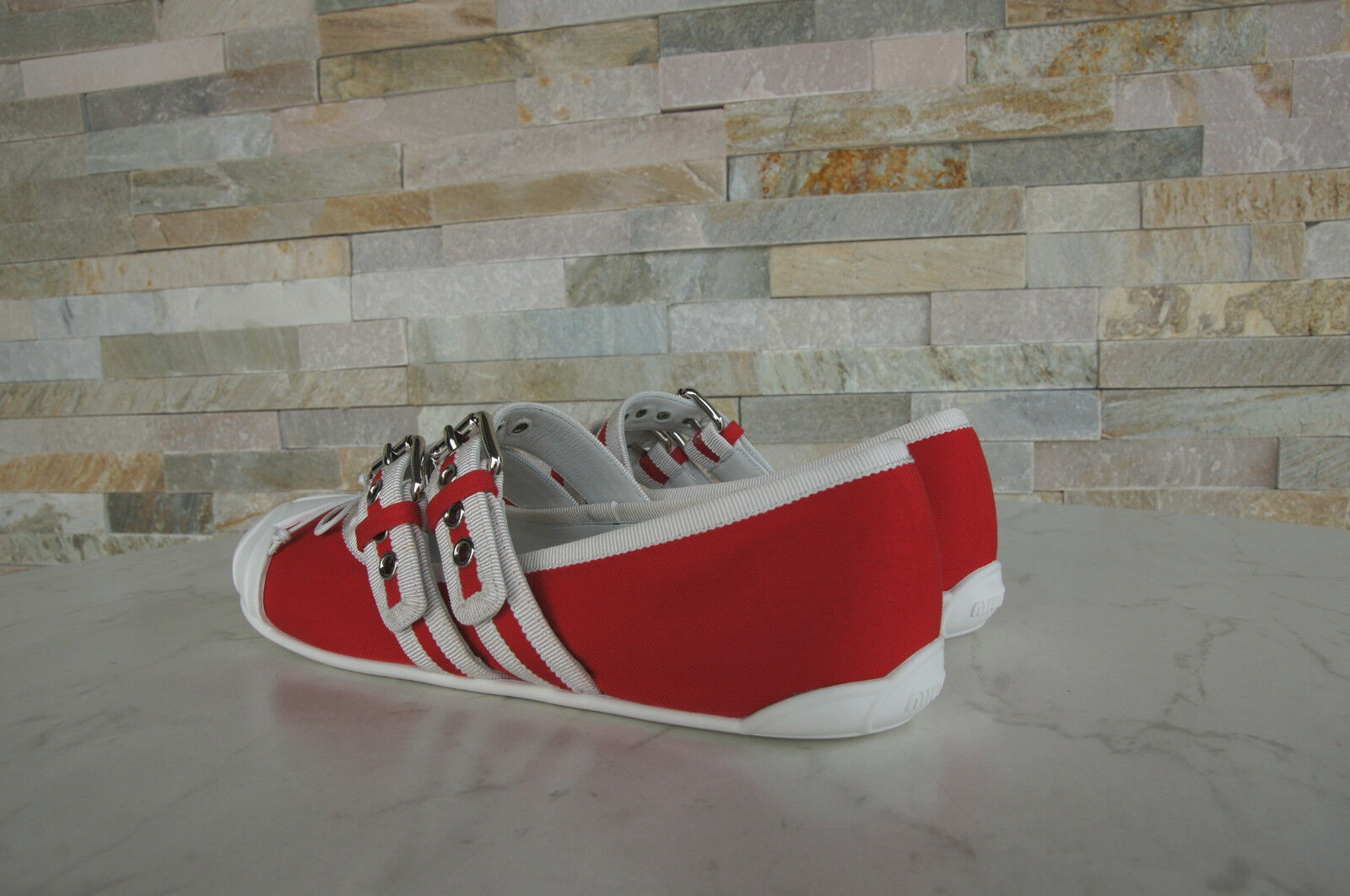 Miu Miu Miu Miu Size 39 Ballerinas Slip on Low shoes Red 5F022B New Previously 89b97a