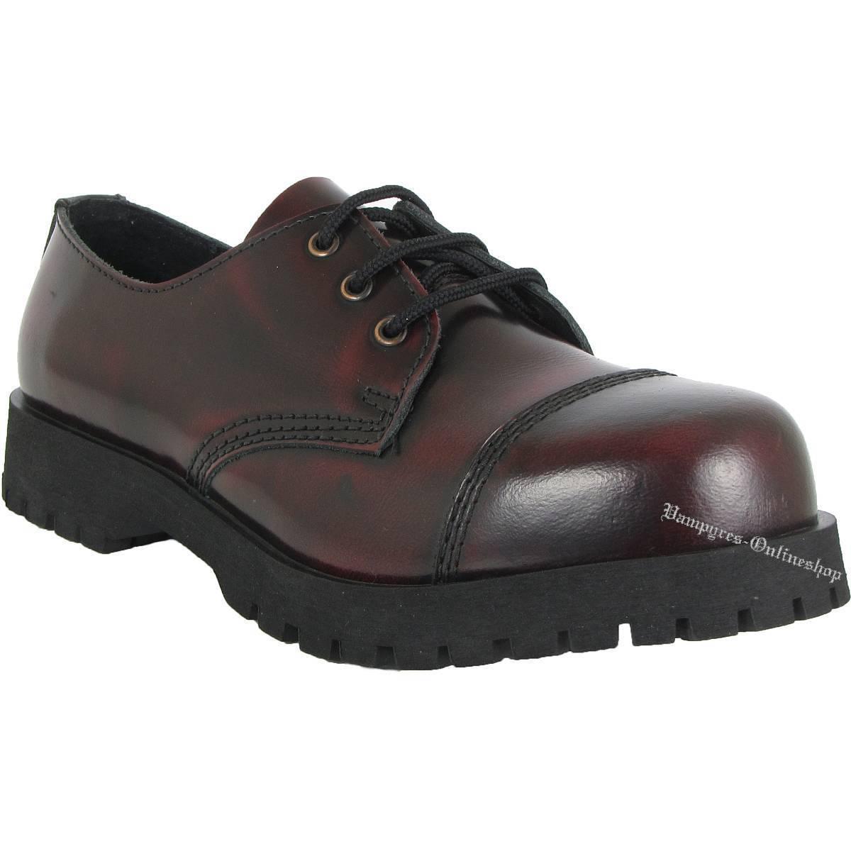 Boots And Braces 3-Loch Rot Rub-Off Schuhe Leder Rangers Stahlkappe Halbschuhe