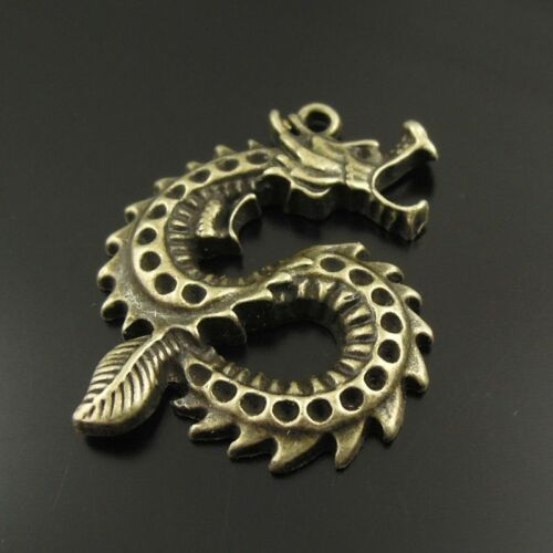 14pcs Antiqued Bronze Alloy Dragon Fit 1.5mm Rhinestone Pendant Charms 38356