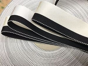 Vintage-Petersham-Trim-Rayon-1-034-Ribbon-Black-Cream-White-1yd-Made-in-USA