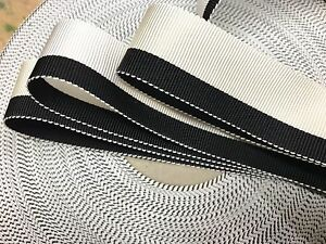 Vintage-1940-Rayon-7-8-034-Grosgrain-Ribbon-1yd-Stripe-Cream-White-Black-Made-USA