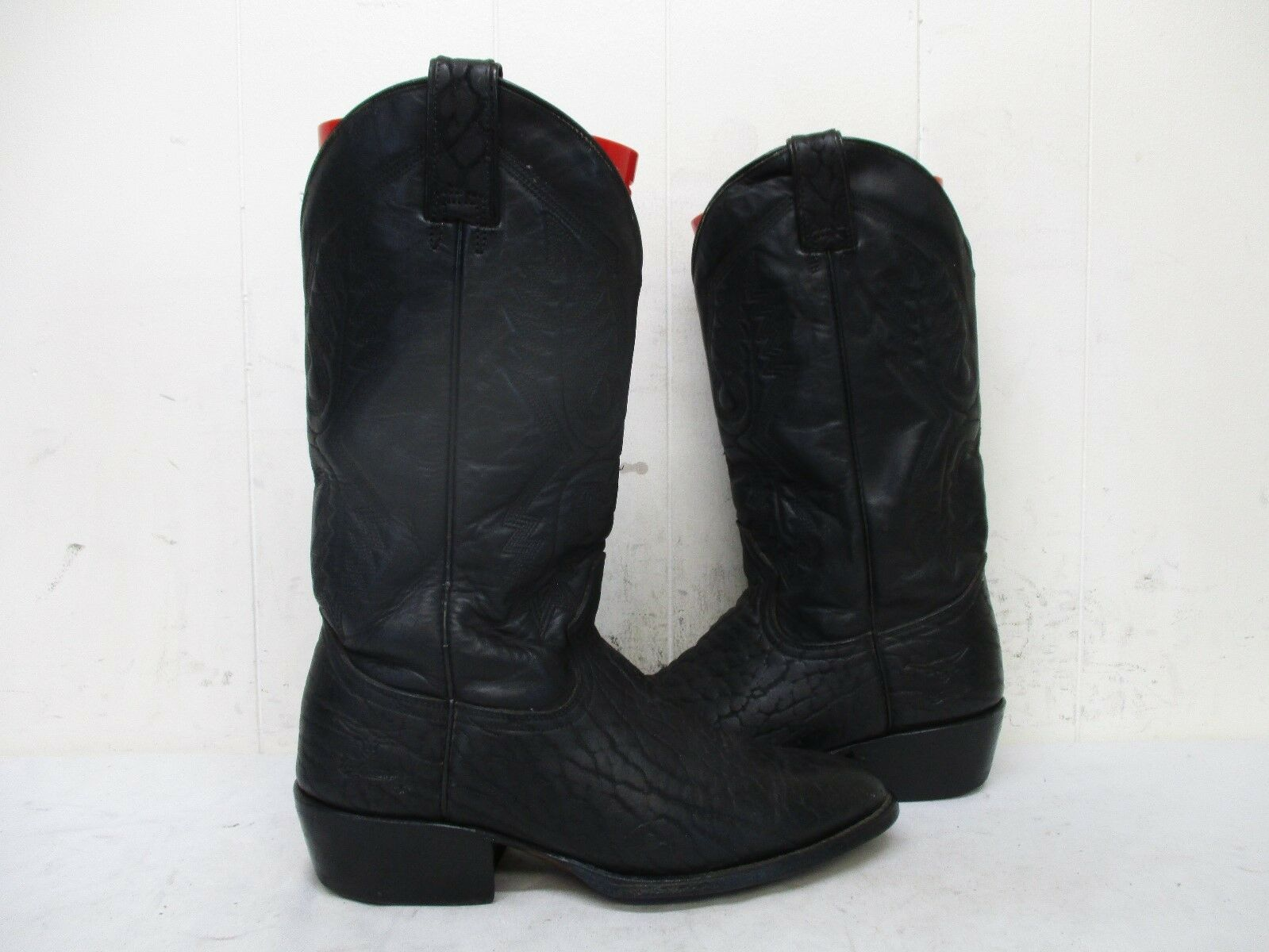 Rio Grande Black Leather Cowboy Boots Mens Size 26 Mexico
