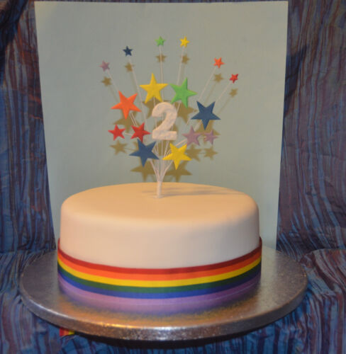 Rainbow cake topper stars on wires age name birthday 1st 18th 21st 40th 50th