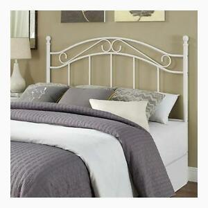 Full size bed frame metal white bed headboard modern for Full size bed frame and dresser