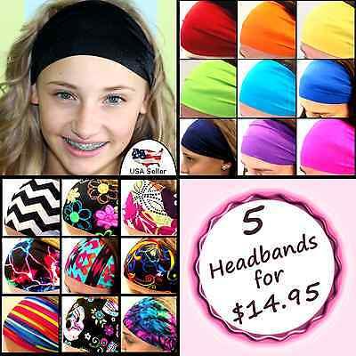 Women Lady Wide Sports Yoga Headband Stretch Hairband Elastic Hair Band  [Black]