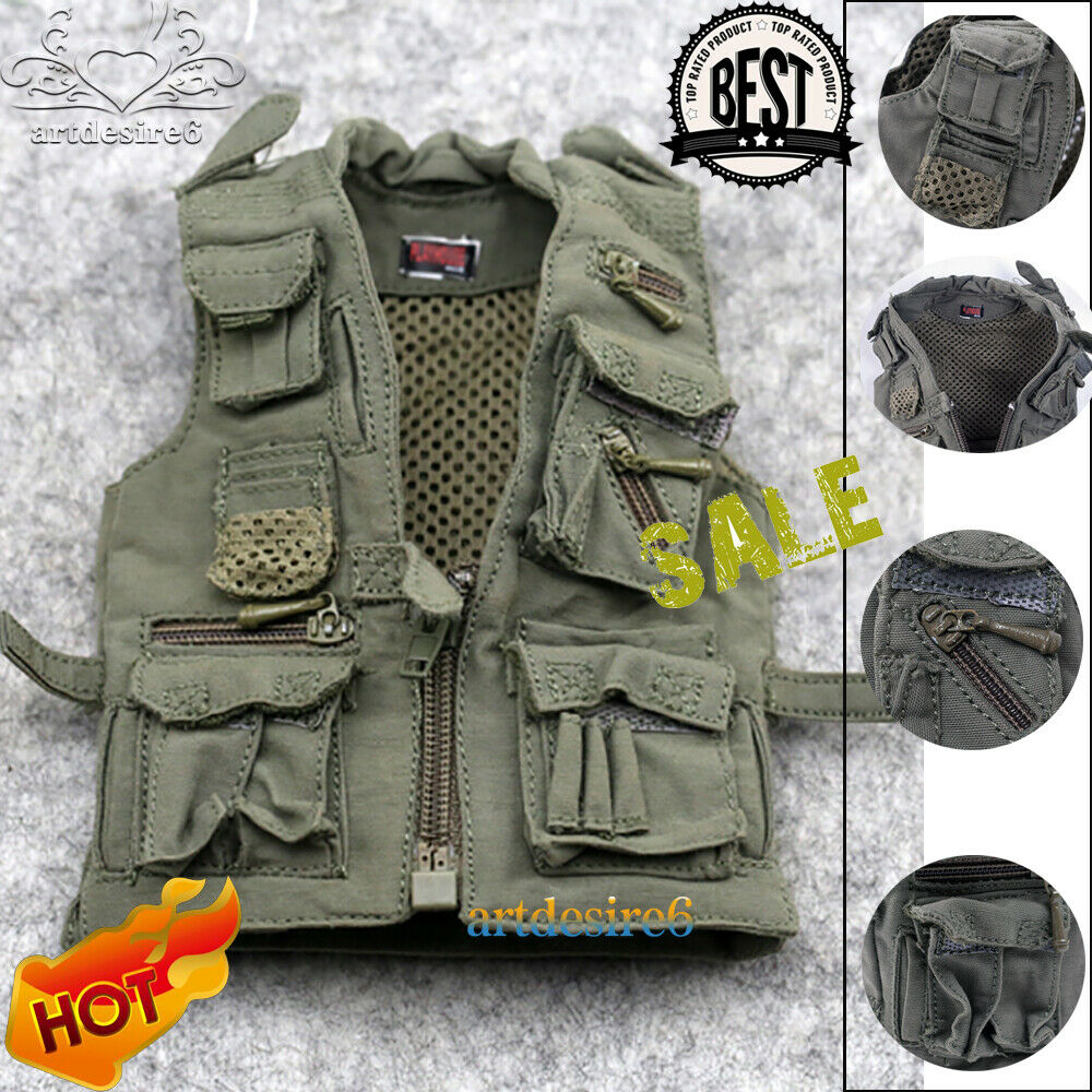 1:6 Scale Army Black Cloth Vest Journalist Vest Model For Action Figure Hot Toys