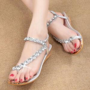 US-Women-039-s-Summer-Casual-Beach-Bohemian-Sandals-Rhinestone-Shoes-Flat-Flip-Flops