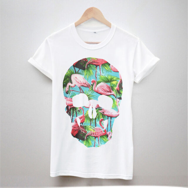 NEW SKULL FLAMINGO T SHIRT PRINT TUMBLR HIPSTER WOMEN FRESH SWAG TOP MEN