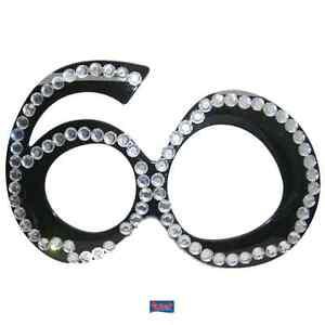 Brille schwarz Zahl 60 Strassaplikati<wbr/>onen Geburtstagsbri<wbr/>lle Geburtstag Zahl