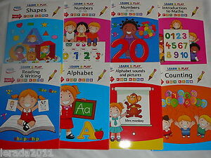 CHILDREN LEARN & PLAY BOOK AGE 3-7 NUMBERS ALPHABET READING WRITING SHAPES MATHS