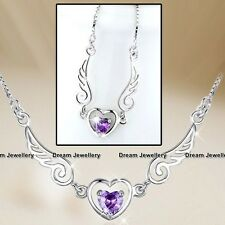 3D Angel Wing Love Heart Amethyst Pendant Silver Necklace Chain Gift for her Mum