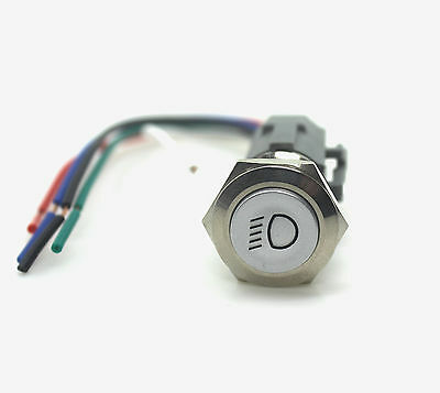 19mm Chrome car low passing beam LED Latching Push Button switch &socket plug