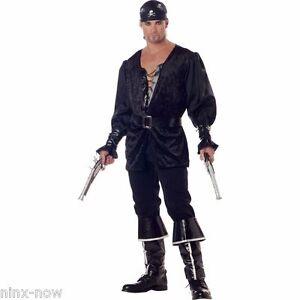 Blackheart-Black-Pirate-Swashbuckler-Buccaneer-Men-039-s-Fancy-Dress-Costume