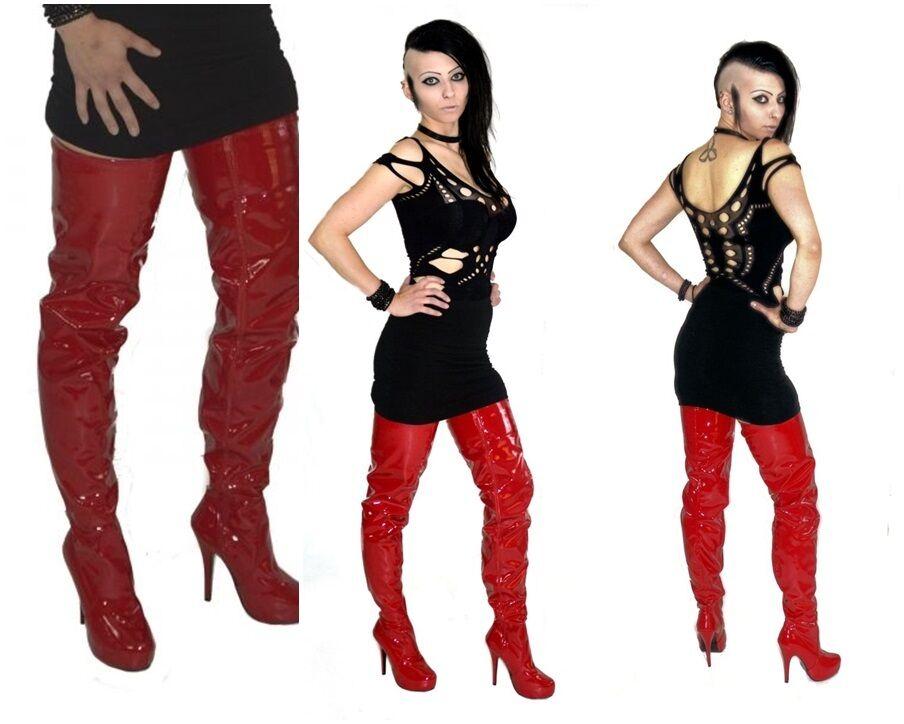 Rojo Rojo Rojo de entrepierna Overkneestiefel nuevas botas botas de zapatos mujer del muslo de tacón alto 6b75b8
