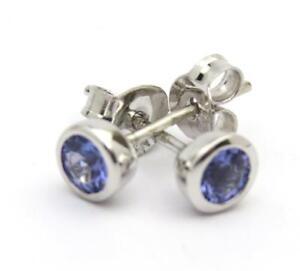 NEW-Tanzanite-Round-Stud-Earrings-9ct-White-Gold-British-Hallmark-Free-p-amp-p
