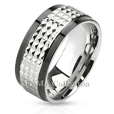 Stainless Steel Black 2 Color Pirate Skull Crossbones Comfort Fit Flat Band Ring