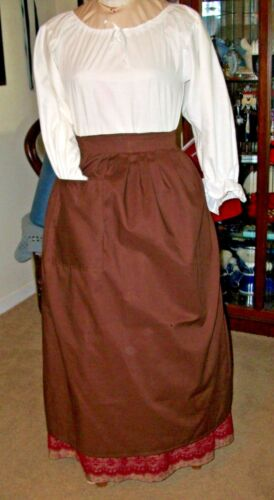 CIVIL WAR DRESS VICTORIAN COLONIAL LADY/'S BROWN 100/% COTTON WRAP AROUND APRON