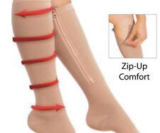 Zip Sox Compression Socks Zipper Leg Knee Support Open Toe Fashion Sport 1 Pair