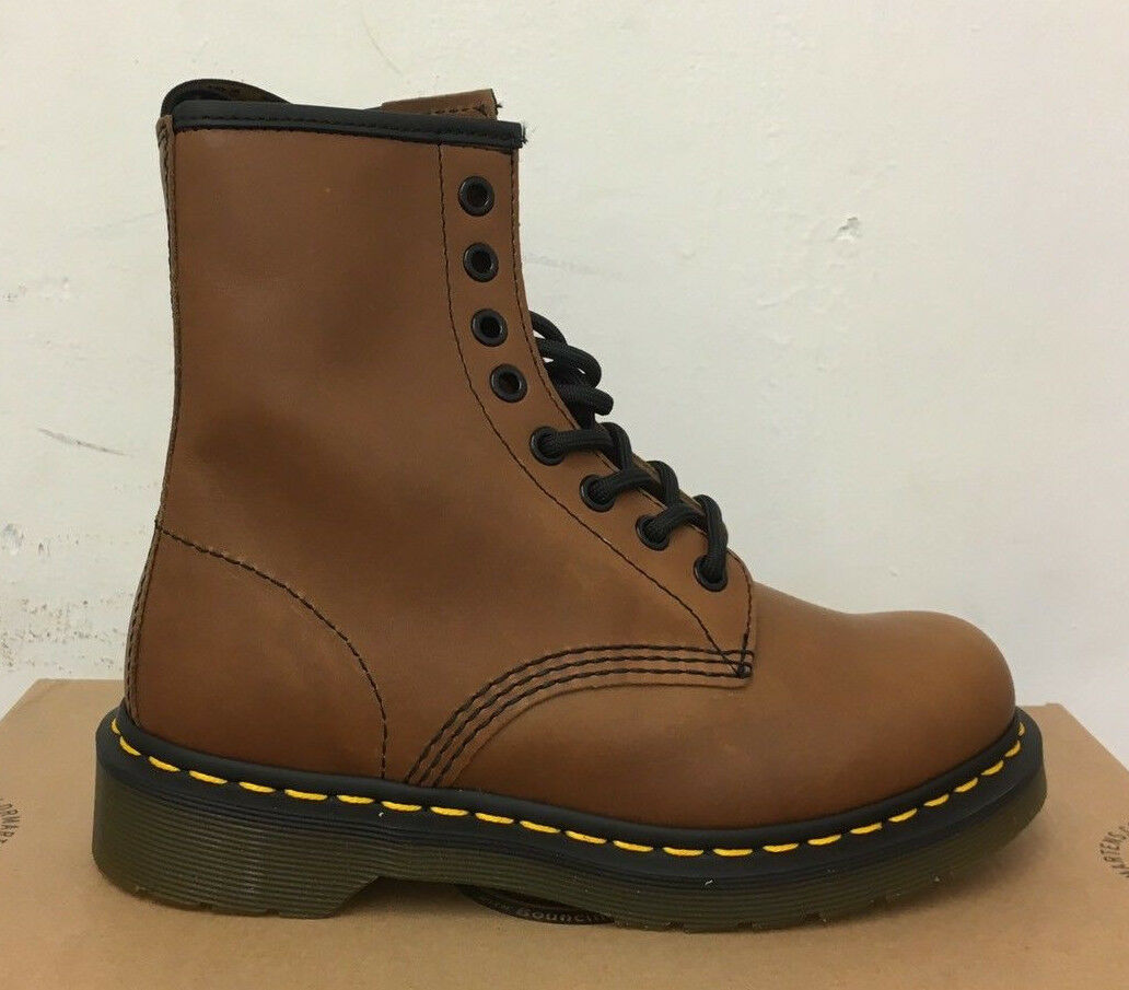 DR. MARTENS 1460  BROWN SERVO LUX    LEATHER  BOOTS SIZE UK 3