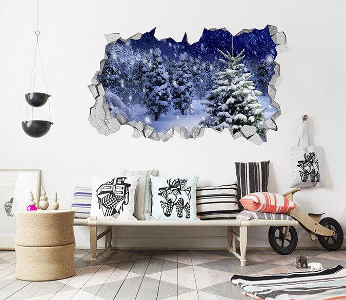3D Schneien Wald 17 Mauer Murals Mauer Aufklebe Decal Durchbruch AJ WALLPAPER DE