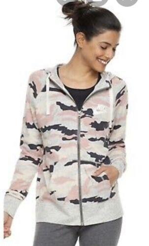 womens nike camo zip up hoodie | size S