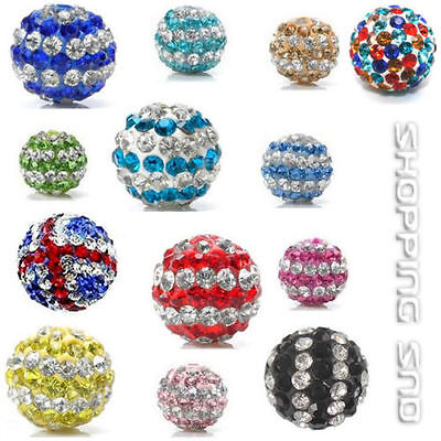 RUBYCA 10mm Pave Czech Crystal Clay Disco Ball Clay Shamballa Beads Striped DIY
