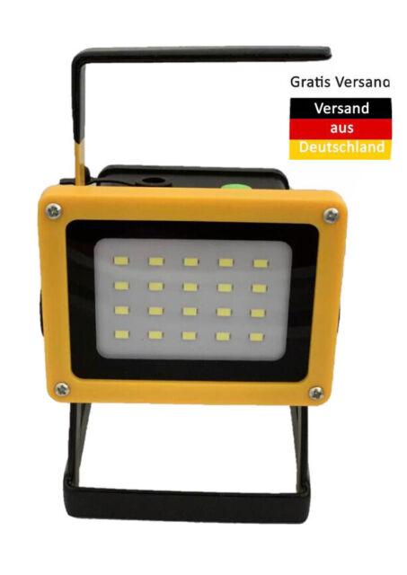 LED Akku Arbeitsleuchte mit USB Powerbank Bau-Flutlicht-Strahler 20W Baulicht