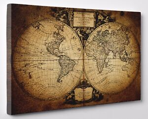 Vintage world map old style canvas print wall art framed ready to image is loading vintage world map old style canvas print wall gumiabroncs Image collections