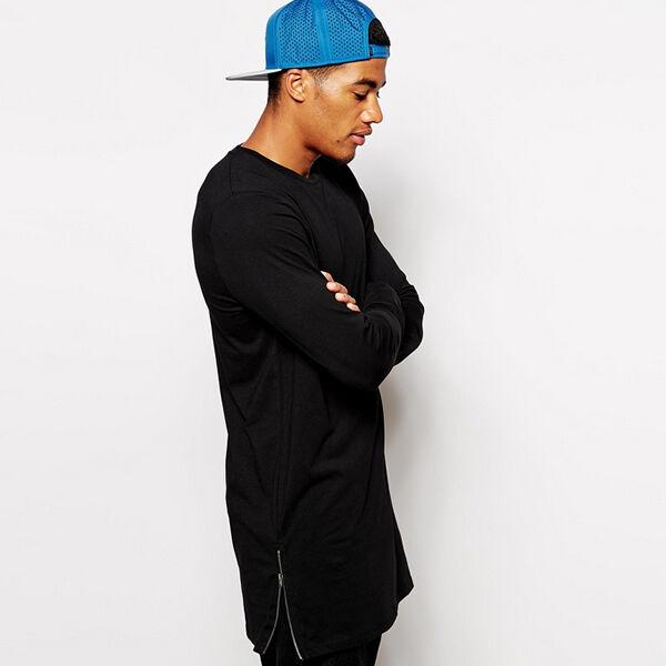 Fashion Men Long Sleeve Size Extended Hip Hop T-Shirt Side Zipper Streetwear