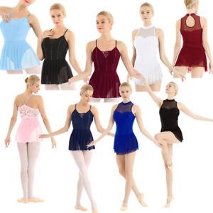 Adult-Women-Ice-Skating-Ballet-Dance-Dress-Gymnastics-Leotard-Skirt-Tutu-Costume