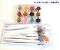 15pcs Nail Brushes Paint & 12 Colors Glitter Dust Powder Tips Nail Art Tool Kit