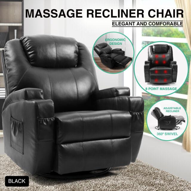 Fine Full Body Massage Recliner Chair Leather Vibrating Heat Lounge 3600 Swivel Black Short Links Chair Design For Home Short Linksinfo