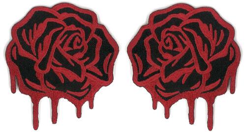 Black Blood Rose Patch Pair Spanish Spain dia de los muertos Tattoo Art Horror