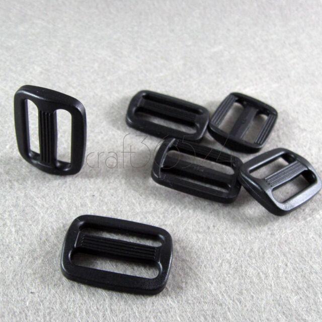 "10/50 pcs Black plastic Triglides Webbing Strapping Slides for 1"" webbing RZ-25"