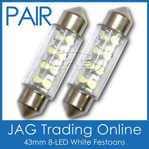 2 x 43mm 8-LED WHITE FESTOON INTERIOR LIGHT GLOBES/BULBS - Car/Bus/Truck/Trailer