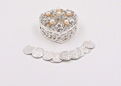 Silver Metal Round Rhinestone Wedding Arras de boda Box Set with Coins SR01