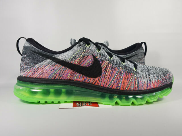 Nike Flyknit Air Max Running Shoes Mens Size 10 Gray Multicolor Green 620469 103