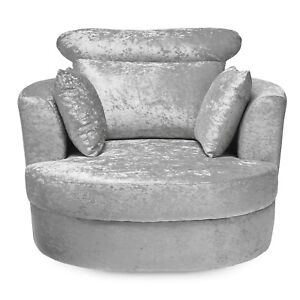 Bliss Silver Fabric Swivel Armchair