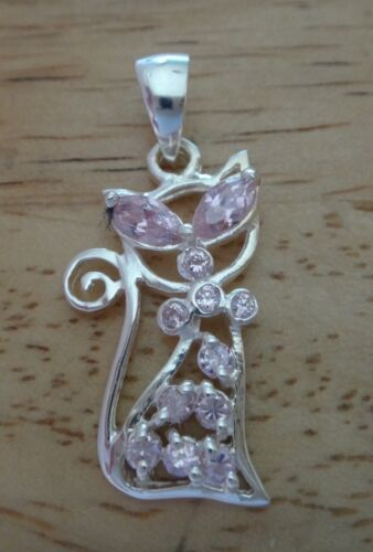 Sterling Silver 30x15mm Sitting Cat with light Pink Crystals Charm Pendant