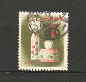 JAPAN 1955 ZODIAC FOR NEW YEAR 1956 KOKESHI DOLL COMP. SET OF 1 STAMP GOOD USED
