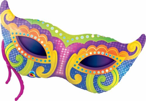 Mardi Gras masks-a-round Qualatex Látex /& globos de Papel Aluminio