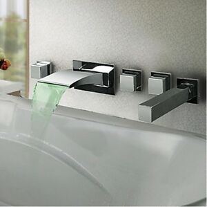 Led Color Changing Wall Mounted Bathroom Waterfall Tub Faucet Shower