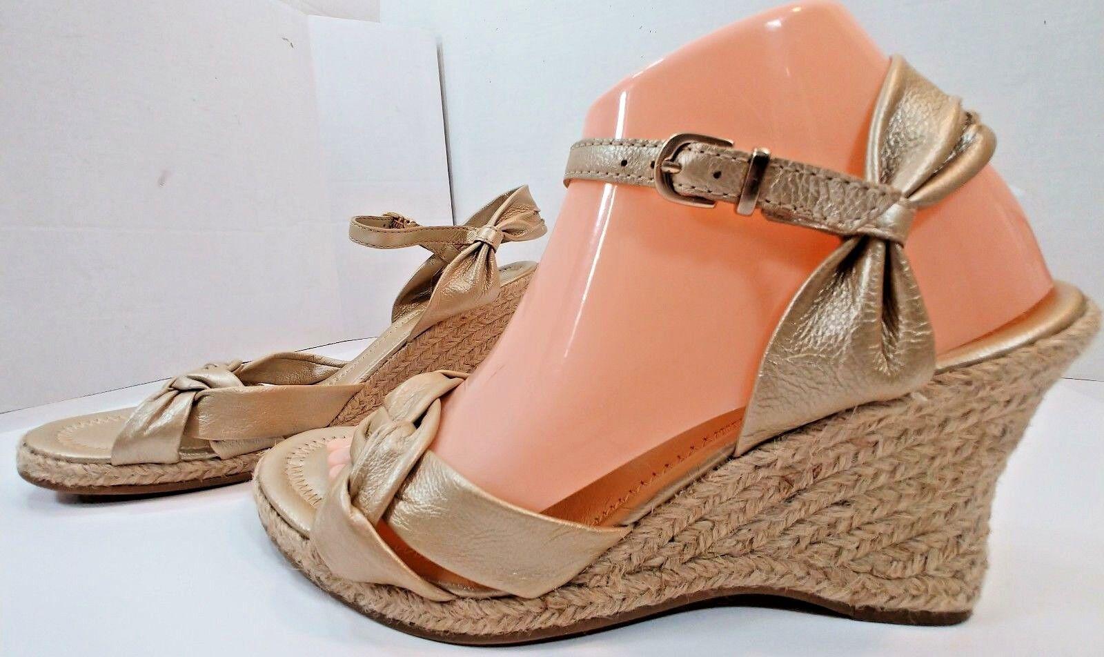 New Antonio Melani Beige gold Leather Espadrille Wedge Sandals shoes Womens 8.5M