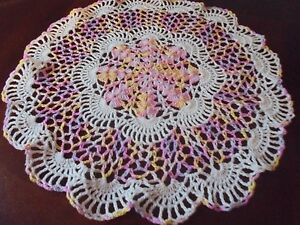 "NEW Hand Crochet Doily Table Centerpiece Chic Shaded Pink/Lilac Size 14"" Round"